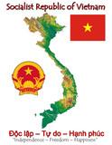 Vietnam Asia national emblem map symbol motto