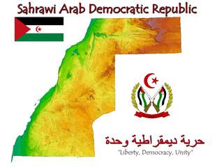 Sahrawi West Sahara Africa national emblem map symbol motto
