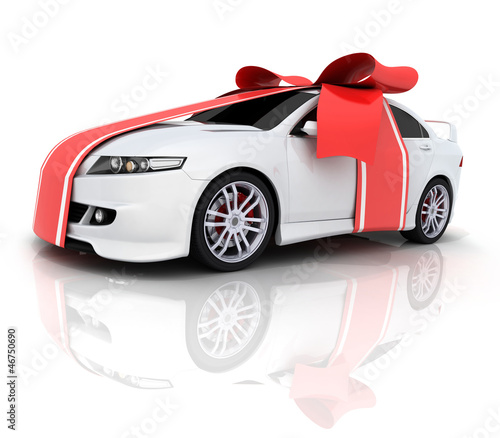 Car and red ribbon