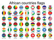 set of round buttons with flags of Africa vector illustration