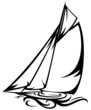 sailing yacht vector illustration