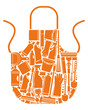 Apron with silhouettes of the equipment for cleaning
