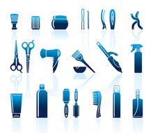 Set Of accessoires de coiffure et de moyens pour les soins des cheveux