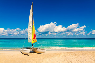 Sailing boat on a beautiful summer day in Cuba