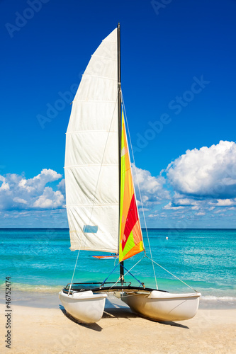 Sailing boat at a tropical beach in Cuba