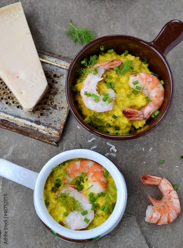 barley groats risotto with shrimps