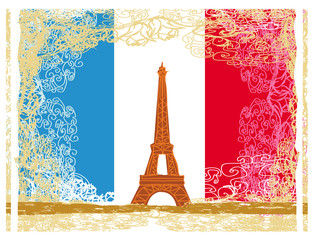 Eiffel tower artistic background. Vector illustration.