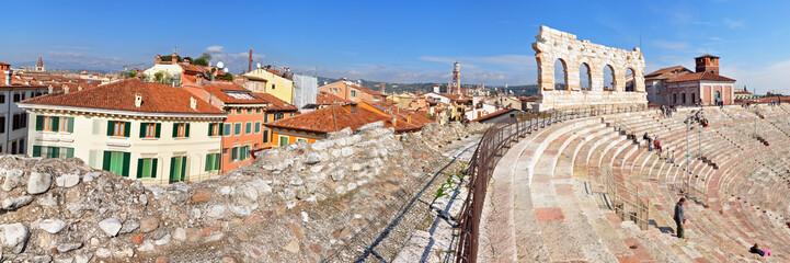 Panoramafoto Verona, Altstadt mit Arena