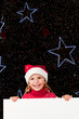 Christmas - lovely girl Santa Claus with white board