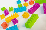 Colorful lego blocks poster
