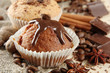 tasty muffin cakes with chocolate, spices and coffee seeds,