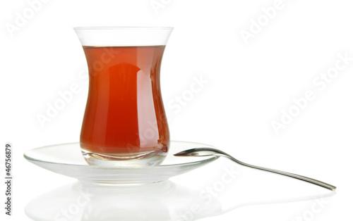 glass of Turkish tea, isolated on white