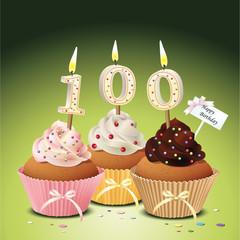 Cupcake mit Geburtstagskerze die Zahl 100