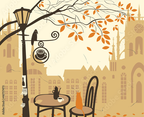 landscape of the old town with a street cafe © paseven