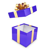 Blue and gold gift box opens