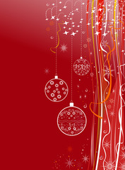 New Year holiday red background with balls