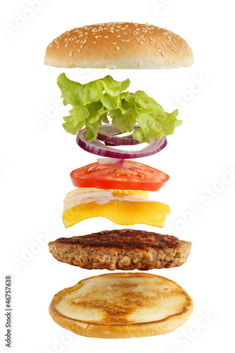 Exploded view of burger, isolated on white