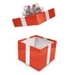 Red and white gift box opens