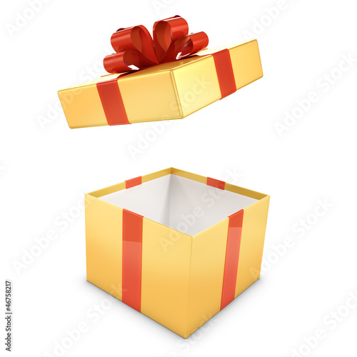 Gold and red gift box opens
