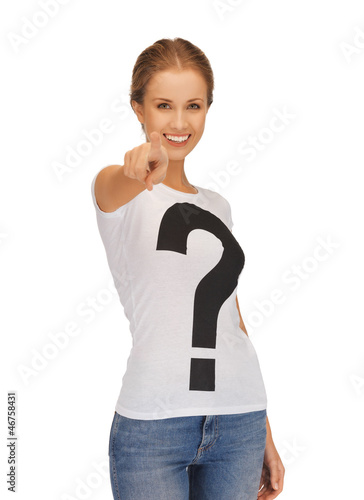 happy and smiling woman pointing her finger