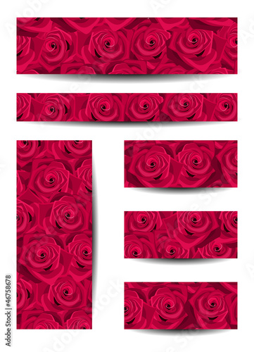 Set of vector banners with red roses.