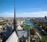 Paris panorama, France. Seine river, view from Notre Dame