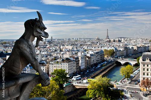 Paris panorama, France. Eiffel Tower, Seine river
