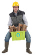 Man carrying recyclable wood