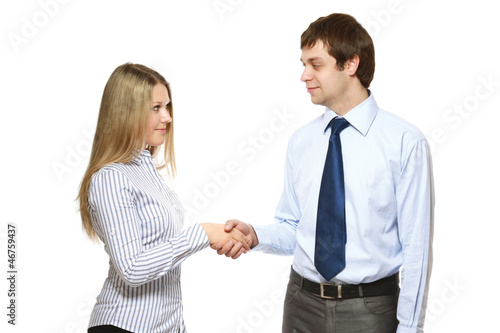 Business partners shaking hands isolated