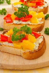 toasts with bell pepper and cheese