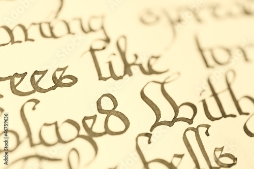 Closeup of calligraphy
