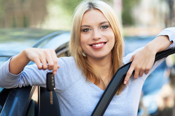 Woman Showing off New Car Keys