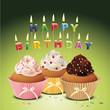 Cupcakes mit Happy Birthday Geburtstagskerzen