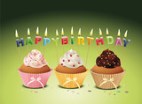 Fototapety Cupcakes mit Happy Birthday Kerzen