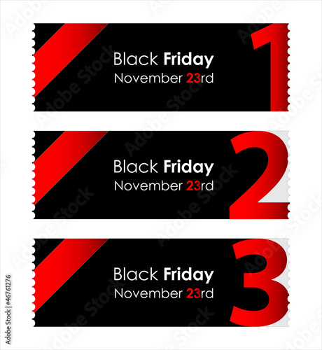 special red paper tickets with black friday text