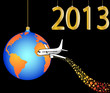 airplane circling the globe merry christmas  happy new year 2013