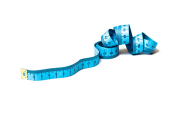Blue measuring tape isolated