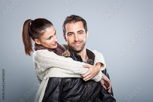 Young Beautiful Couple Hugging