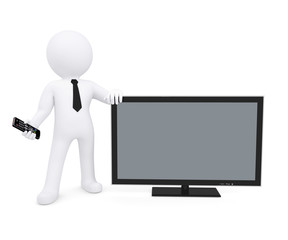 White human standing near the TV