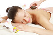 Hot stone massage at spa salon