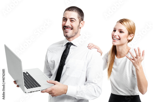 Business Couple with a Modern Laptop