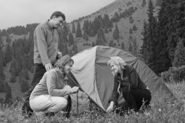 Tourists set near the tent