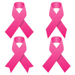 Set of pink breast cancer ribbons