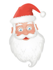 Santa's head on the white background.