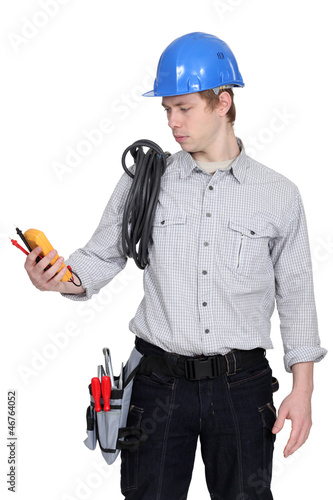 electrician on white background