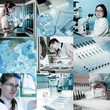 Scientists at work, collage