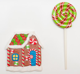 gingerbread house and lollipop