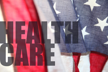 American flag with health care words