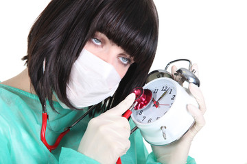 Female surgeon with clock