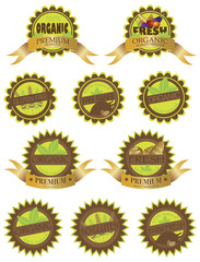 Organic Farm Fresh Labels Illustration